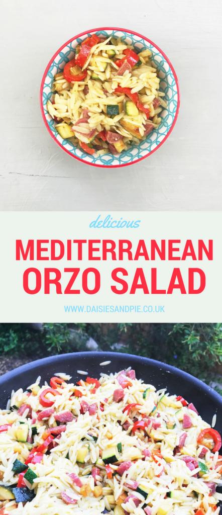 Delicious and easy Mediterranean orzo salad, quick summer meal idea
