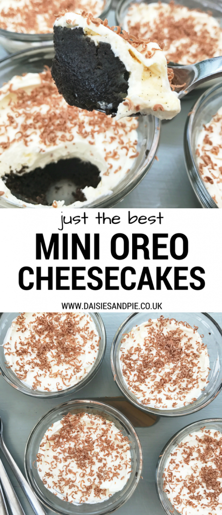"no bake mini oreo cheesecakes - text overlay saying ""just the best mini oreo cheesecakes"""