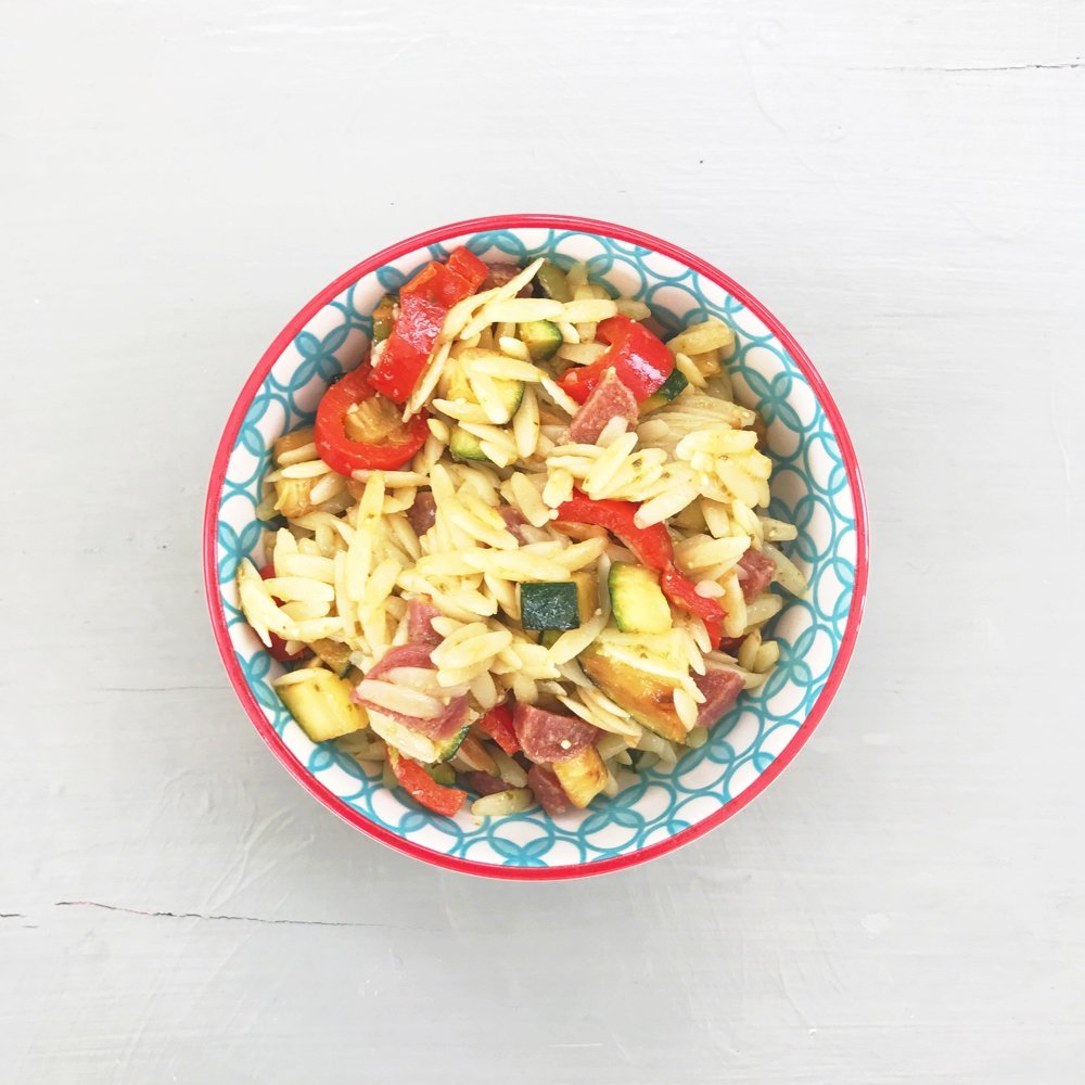 Mediterranean orzo salad recipe, quick midweek pasta recipe, summer dinner ideas