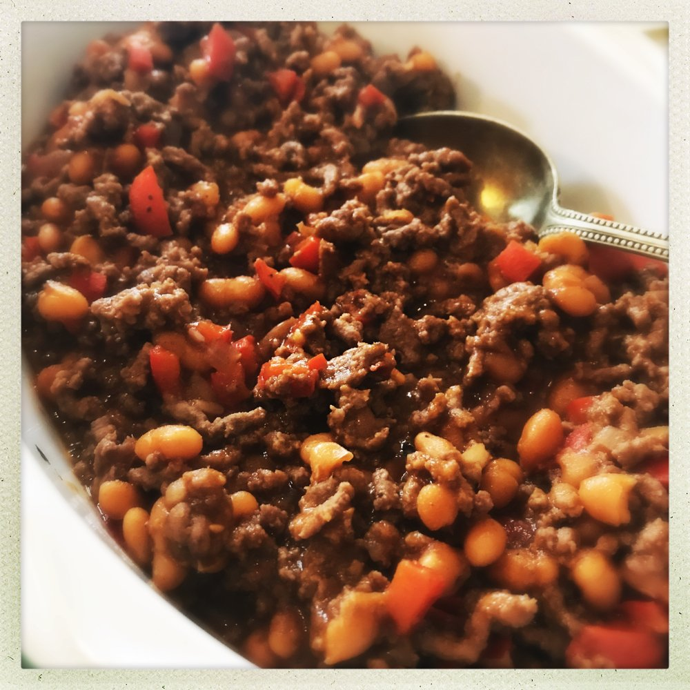 bowlful of 20 minute beef and baked bean chilli