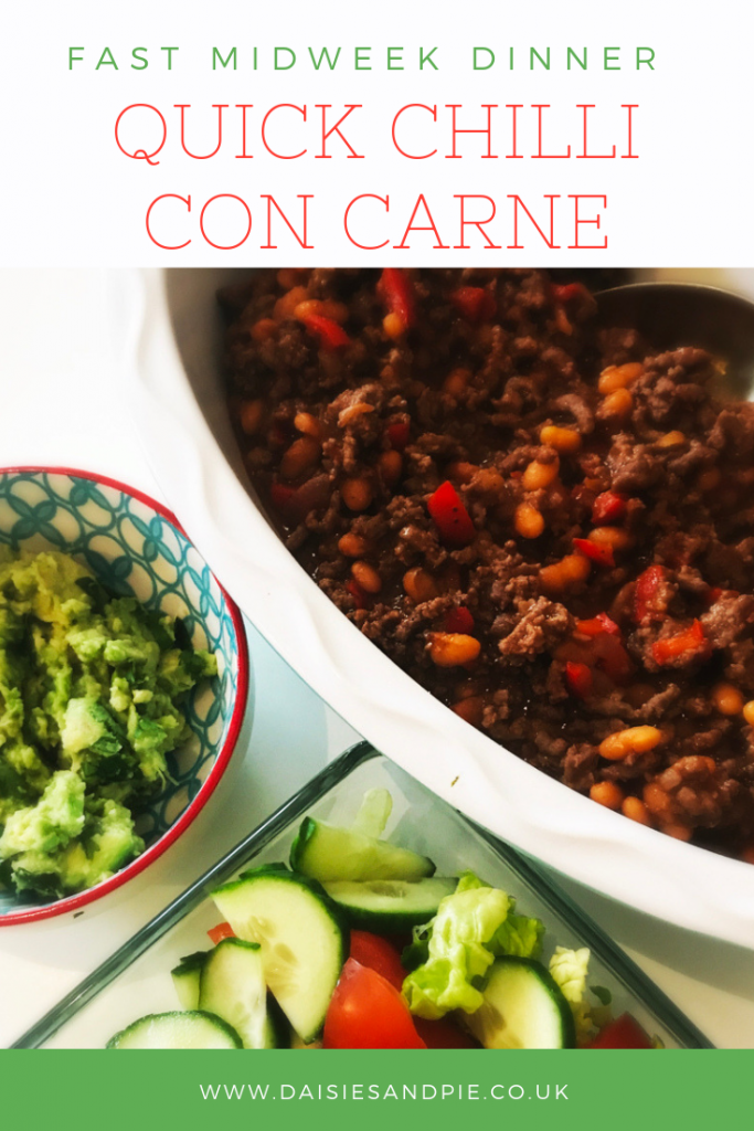 """serving bowl with quick chilli con carne alongside homemade guacamole and fresh green salad. Text overlay saying """"fast midweek dinner - quick chilli con carne"""""""