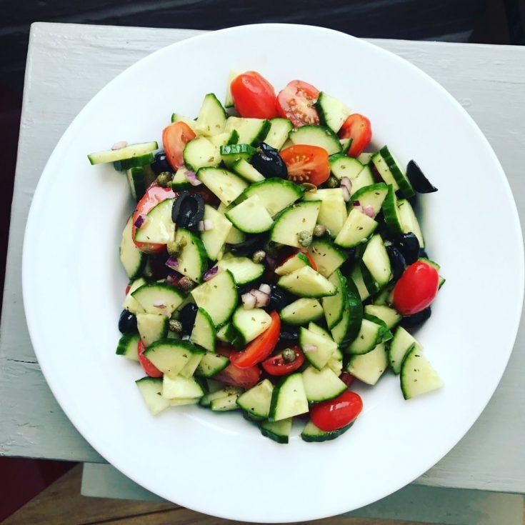 fresh and tasty cucumber salad  daisies  pie