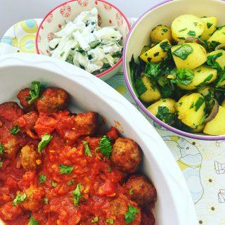 Lamb kofta curry with saag aloo, quick lamb recipe, easy curry recipe