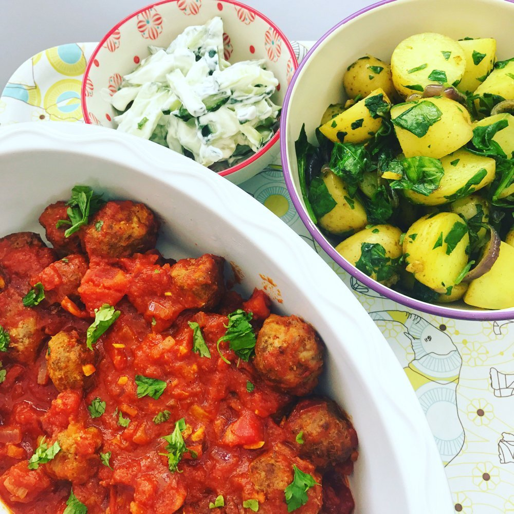 Lamb kofta curry with saag aloo, quick lamb recipe, easy curry recipe
