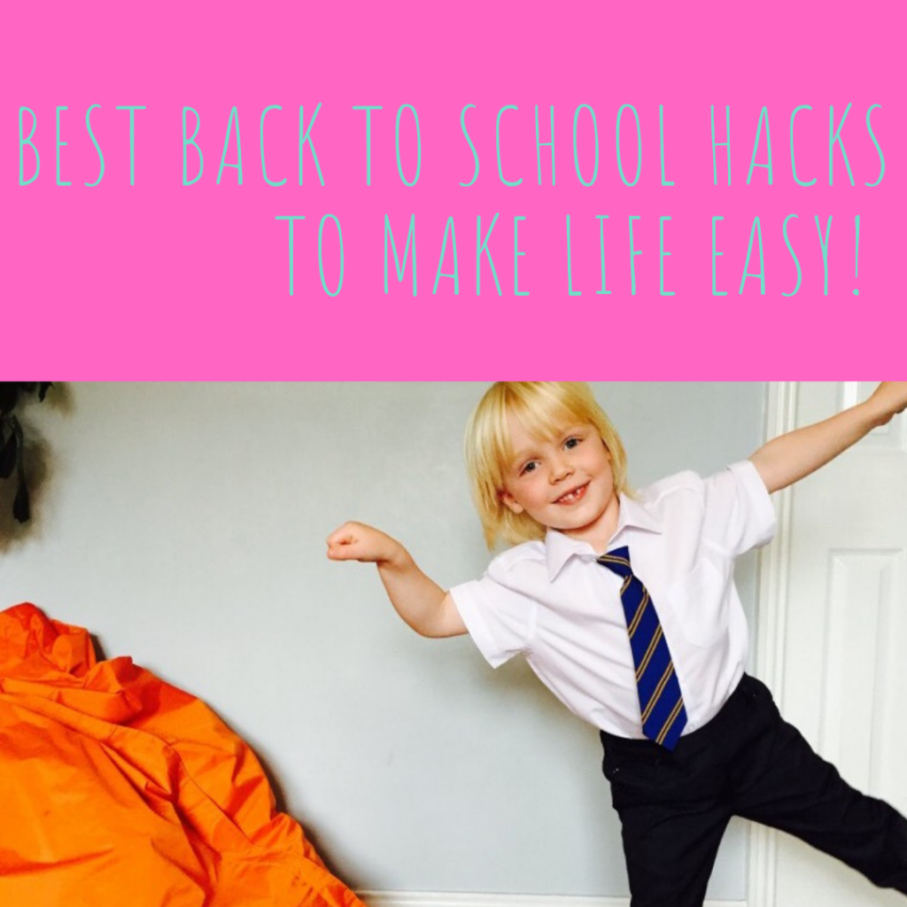 "boy in school uniform doing star jump. Text overlay saying ""best back to school hacks to make life easier"""