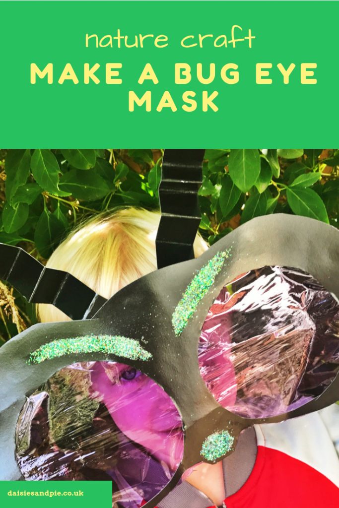 "Homemade bug craft - bug eye mask being worn by little boy. Text ""nature craft make a bug eye mask"""