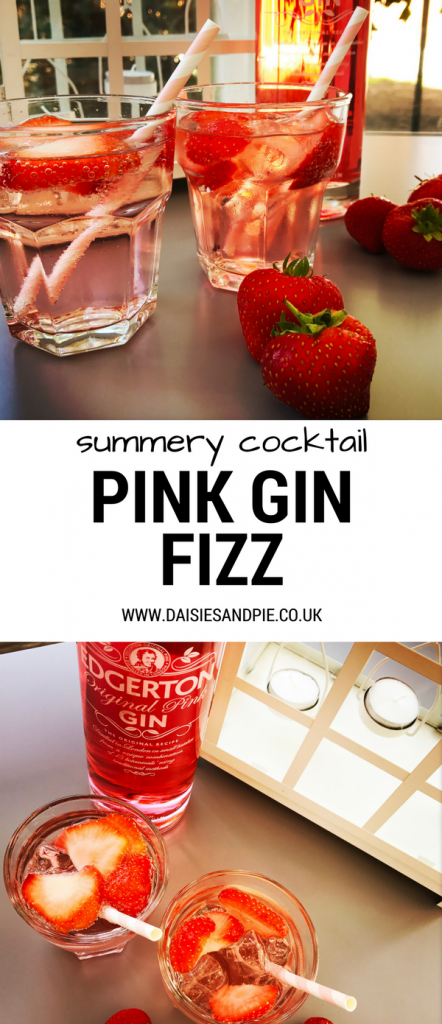 Summer cocktail recipe for garden parties, pink gin fizz cocktail recipe