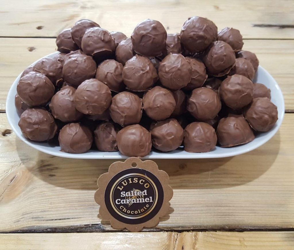 Handmade Salted Caramel Chocolates from Luisco Chocolate Shop Haigh Kitchen Courtyard Haigh Woodland Park, Independent Retailers North West, handmade artisan chocolate manchester