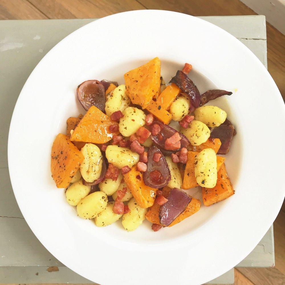 Butternut squash and pancetta gnocchi, autumn comfort food, easy gnocchi recipes