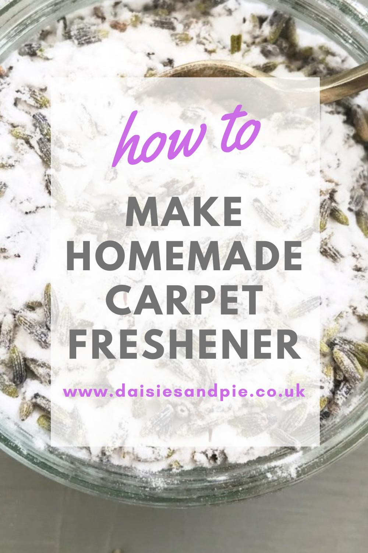 """homemade carpet freshener with baking soda and lavender. Text overlay """"how to make homemade carpet freshener"""""""