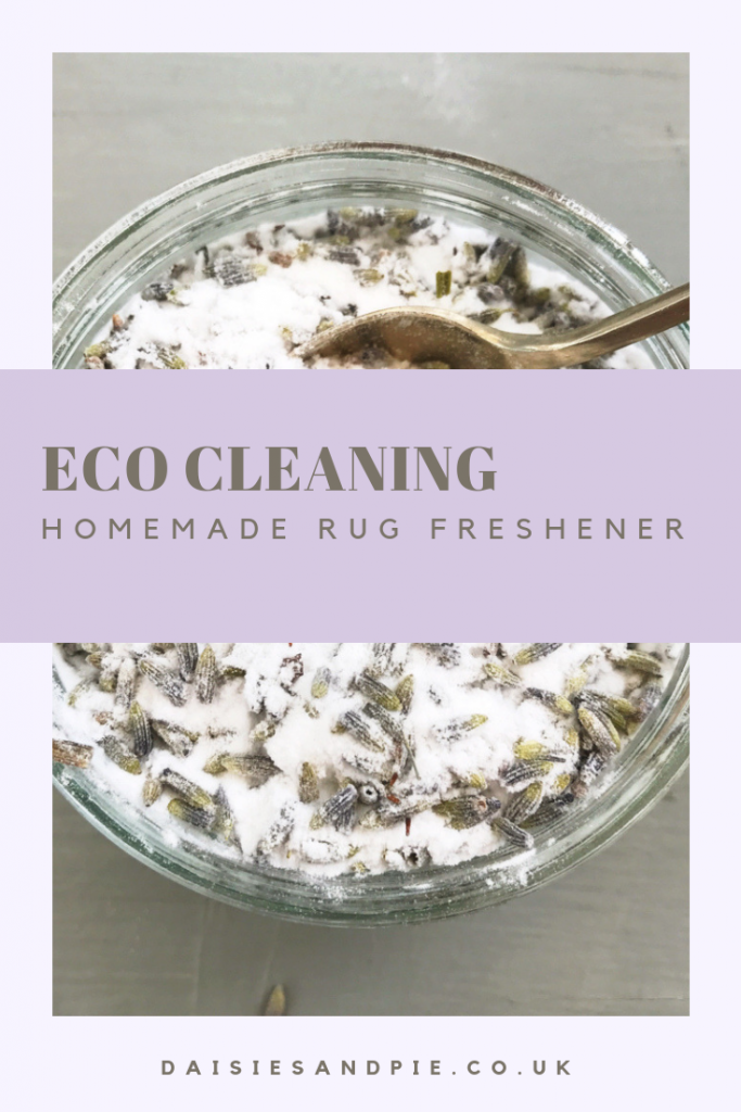 "homemade rug freshener with baking soda and lavender. Text saying ""eco cleaning home-made rug freshener"""