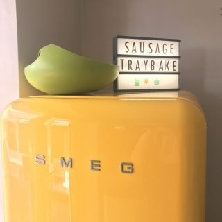Get Gingersnap Light Box on top of gorgeous yellow SMEG fridge, kitchen style ideas, kitchen lights