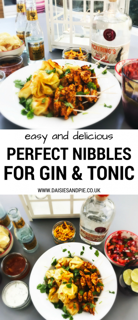 Food to eat with gin and tonic, nibbles that pair with G&T, Indian style party food, Pickering's 1947 gin