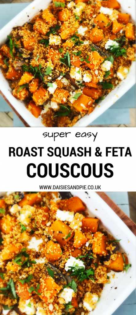 "enamel roasting tin filled with roast squash and feta couscous. Text overlay saying ""super easy roast squash and feta couscous"""