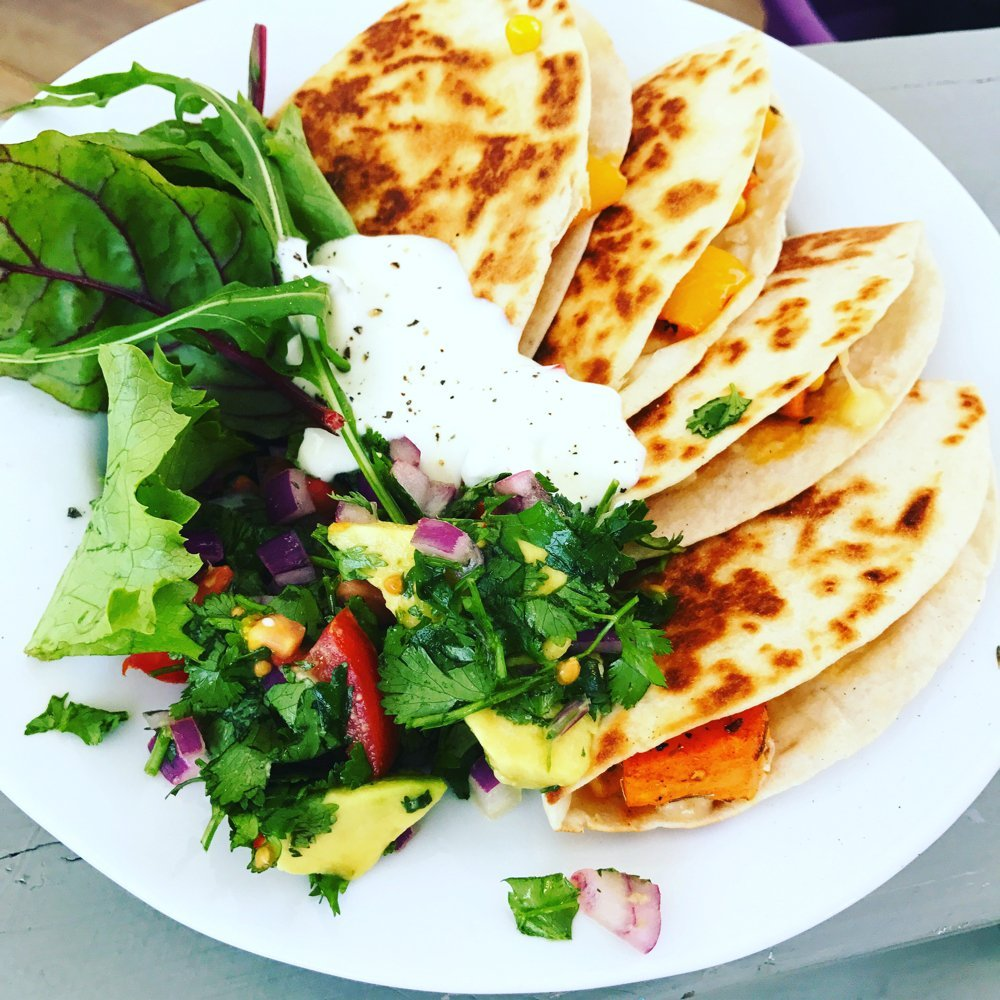 Riverford Vegetarian Recipe Box Review - smoky sweet potato and corn quesadillas with avocado salsa and soured cream dip