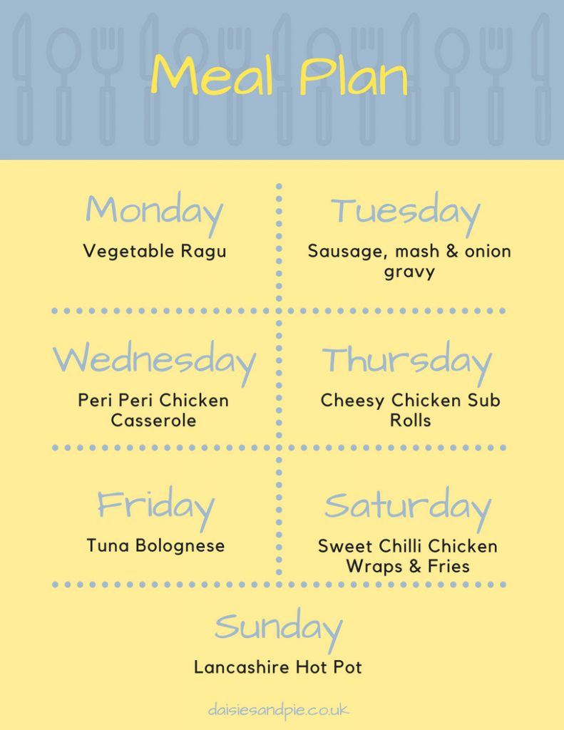 Weekly family meal plan filled with delicious easy to cook family dinner recipes, easy family food from Daisies and Pie