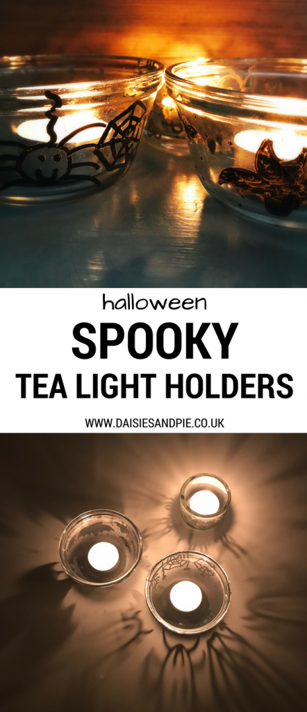 Super spooky homemade Halloween tea light holders, easy Halloween decorations, Halloween dinner party decorations
