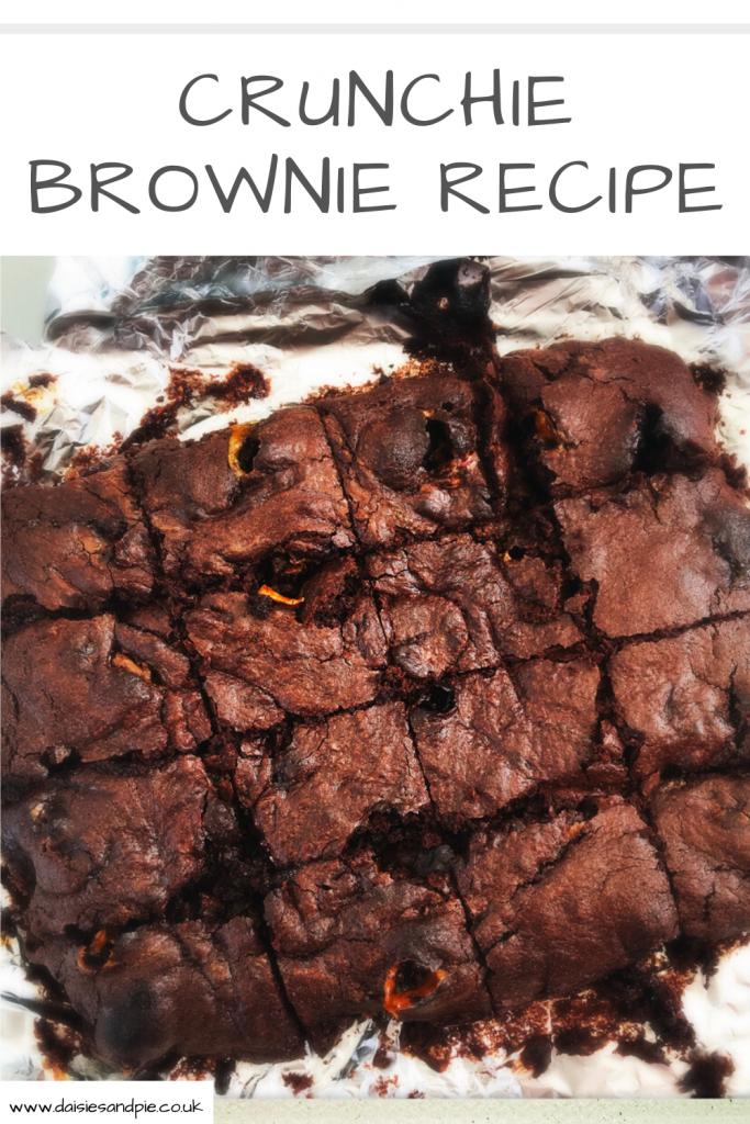 "tray of freshly baked Crunchiie brownies Text ""Crunchie brownie recipe"""