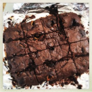 tray of homemade crunchie brownies