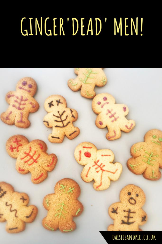 "Halloween gingerbread men. Text ""Ginger'dead' men"""