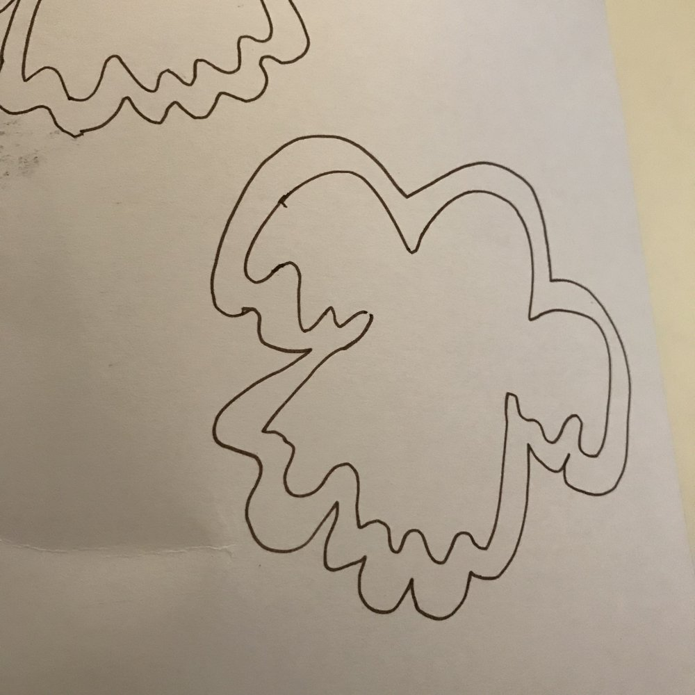halloween tree decorations drawn onto card ready to cut out
