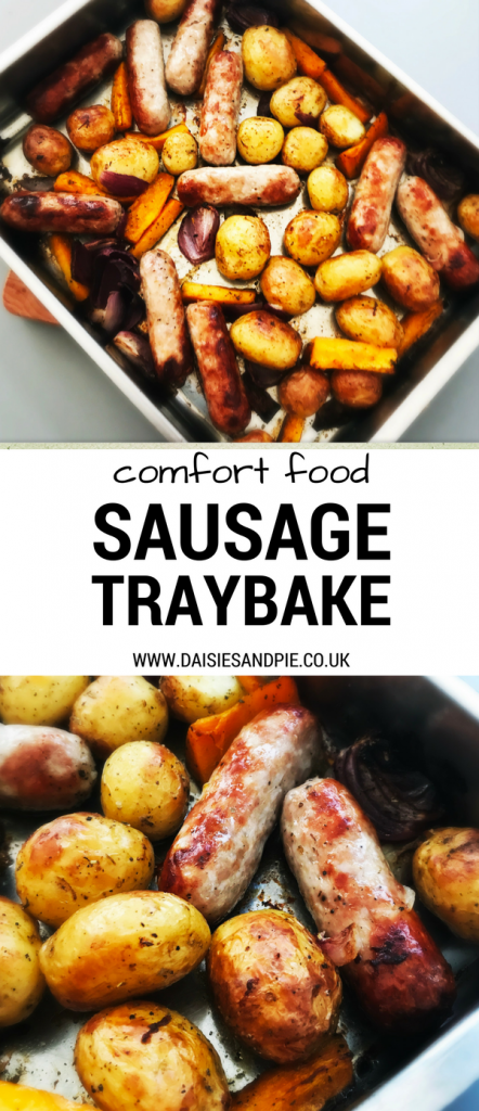 Proper comfort food, sausage and potato traybake, easy family dinner recipes