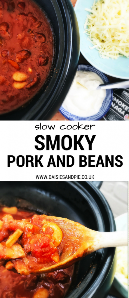 Super tasty slow cooker smoky pork and beans recipe, autumn crockpot recipes, one pot dinner recipes, things to make with pork