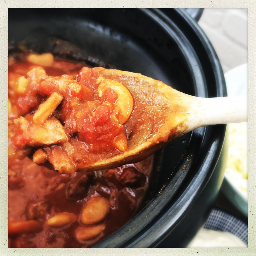 Slow Cooker Smoky Pork and Beans