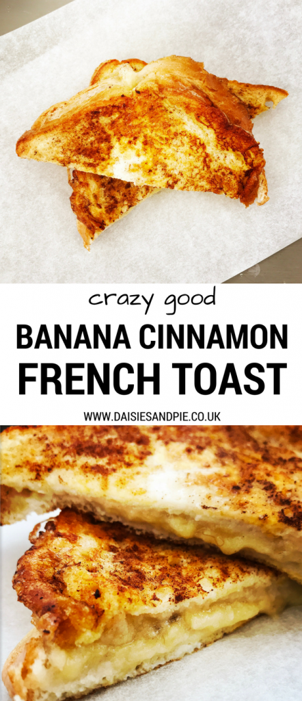 "two images of white paper with cinnamon flecked banana french toast. Text overlay ""crazy good banana cinnamon french toast"""