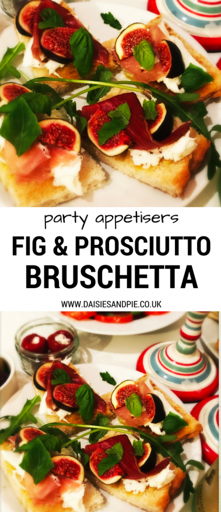 Fig and prosciutto bruschetta, delicious easy Italian appetisers, Christmas party food ideas