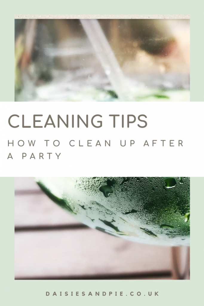 """glass of ice cold gin and tonic with limes. Text """"cleaning tips - how to clean up after a party - www.daisiesandpie.co.uk"""""""