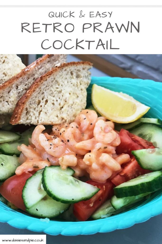 """prawn cocktail with lemon wedge and buttered wholemeal bread. Text """"quick and easy retro prawn cocktail"""""""