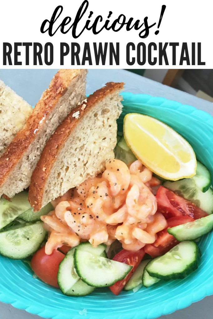"""prawn cocktail served in a blue bowl with buttered brown bread. text overlay reads """"delicious retro prawn cocktail"""""""