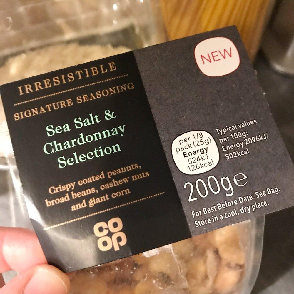 Coop irresistible sea salt and chardonnay snack selection, posh snack ideas