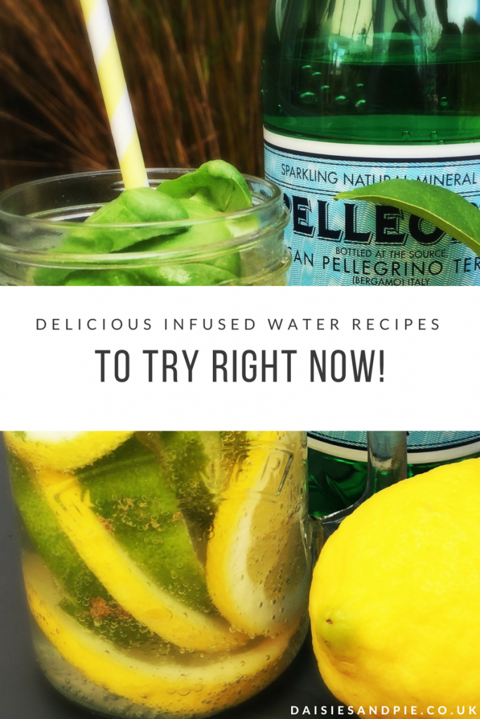 "lemon and lime infused water in a mason jar with yellow and white paper straw. Text overlay saying ""delicious infused water recipes to try right now"""