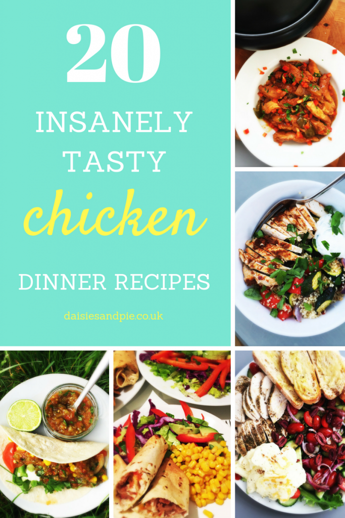 "homemade bbq chicken, harissa chicken with couscous and roast veggies, chicken and halloumi salad recipe, baked chicken chimichangas, chicken taco recipes. Text overlay saying ""20 insanely tasty chicken dinner recipes"""