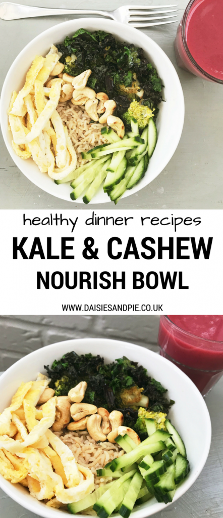 Lighten up dinner with a nourish bowl, Kale and Cashew nourish bowl recipe