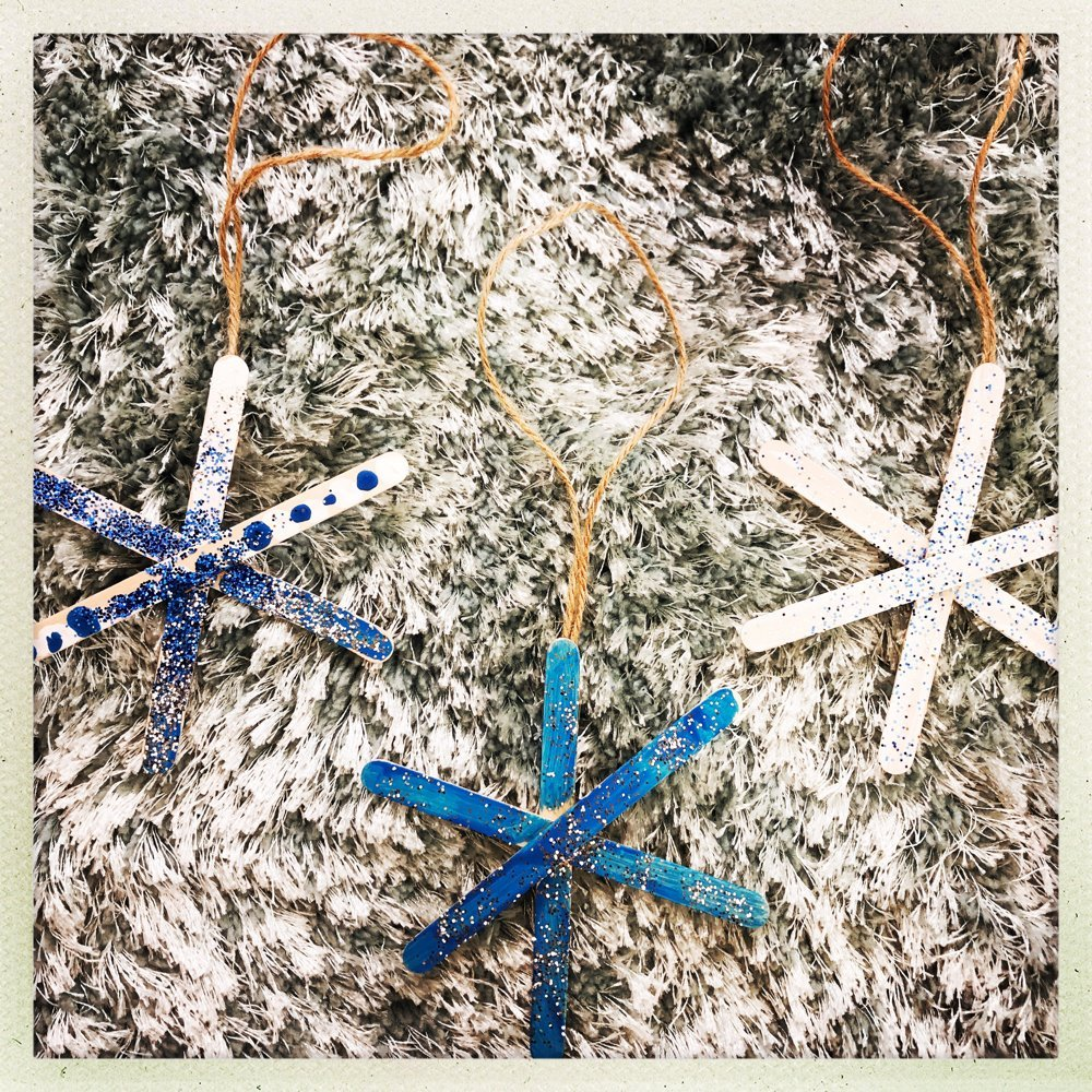 glittery snowflake lollipop stick decorations