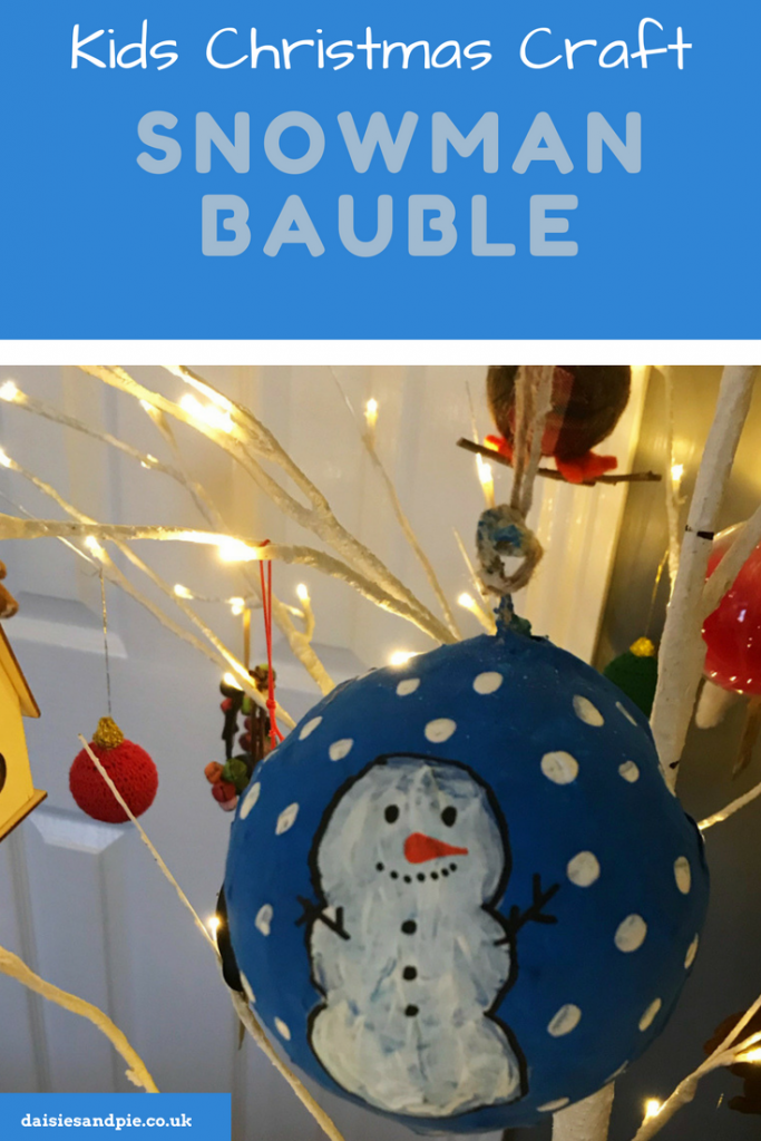 Super cute snowman paper mache Christmas baubles, kids Christmas craft ideas