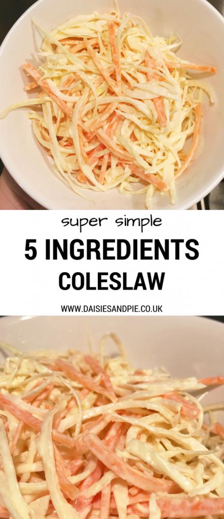 5 ingredient recipe for super tasty coleslaw, vegetable side dish, easy family food