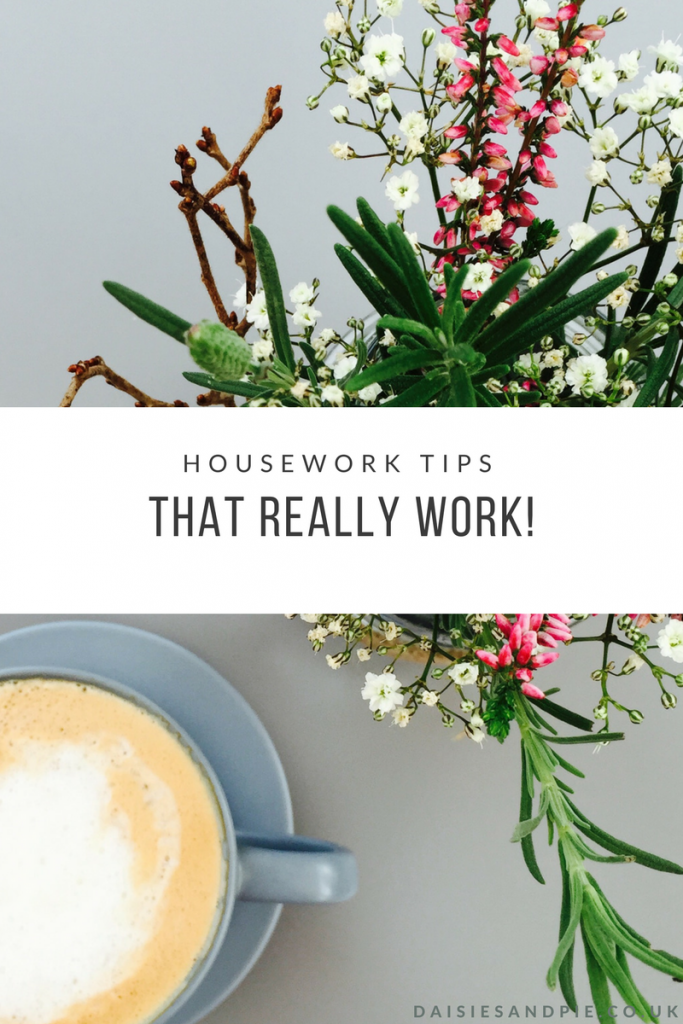 "vase of wildflowers by a cup of coffee. Text saying ""housework tips that really work"""