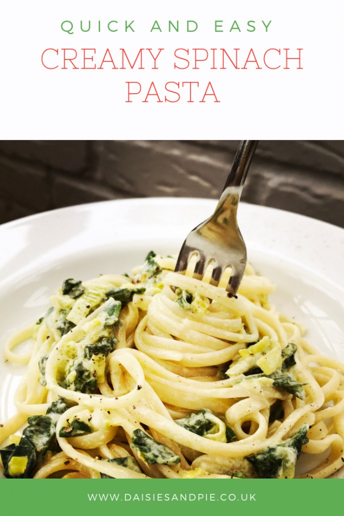 "spinach pasta. Text overlay saying ""quick and easy creamy spinach pasta"""