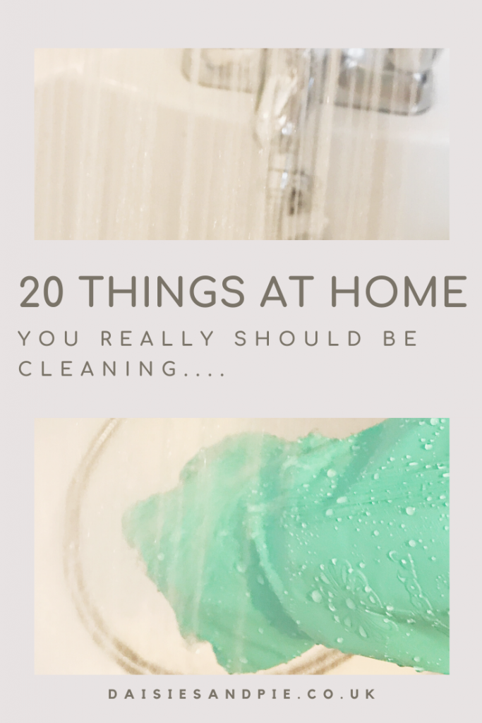 """white bath with shower spray running into it whilst green rubber glove hands clean with a soft cloth. Text """"20 things at home you really should be cleaning"""""""