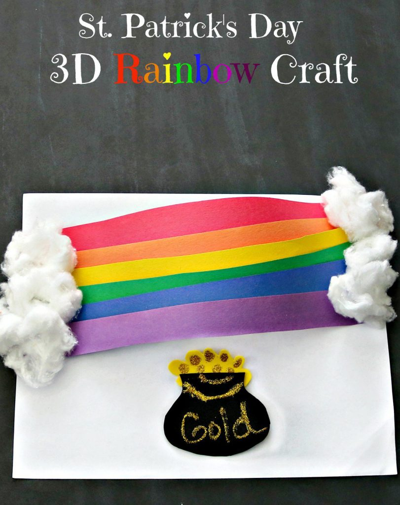 "3D rainbow made from strips of paper and cotton wool clouds, pot of gold under the rainbow. Text overlay saying ""St Patricks Day 3D Rainbow Craft"""