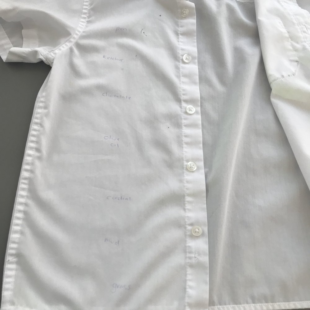 White school shirt that had been stained - freshly washed with Bold 3 in 1 Pods
