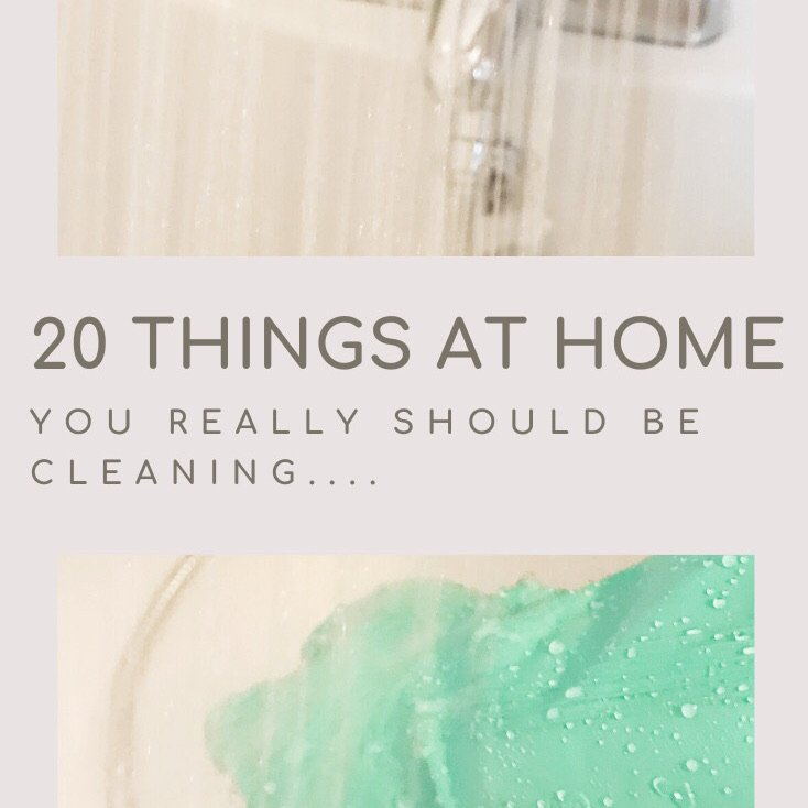 "white bath with shower spray and someone cleaning with a pair of green rubber gloves on. Text overlay ""20 things at home you really should be cleaning"""