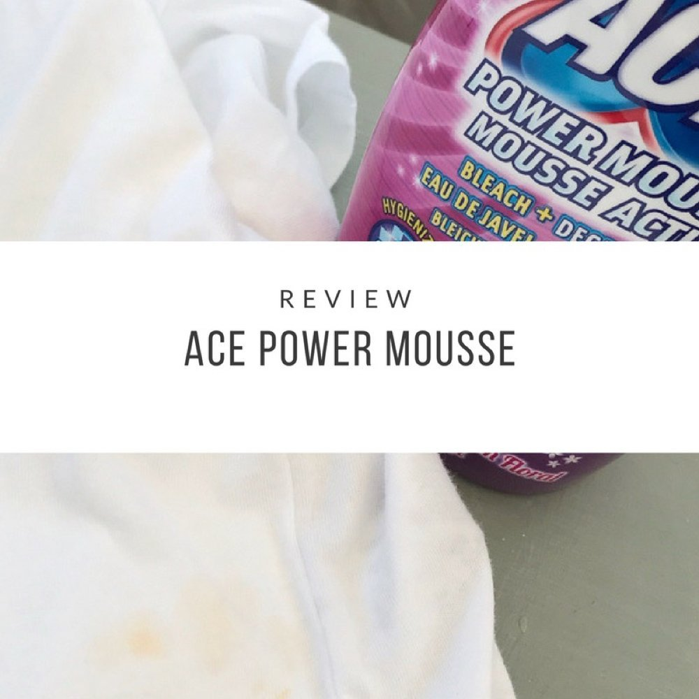 "white shirt stained with spaghetti bolognese sauce and bottle of ACE power mousse stood by it. Text overlay saying ""review ACE power mousse"""