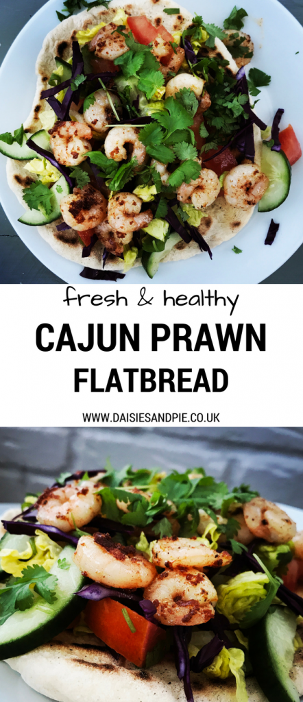 "Two images one from above and one side on showing White plate with freshly made flatbread loaded with salad , topped with Cajun spiced prawns and chopped coriander. Text overlay saying ""fresh and healthy Cajun prawn flatbread"""