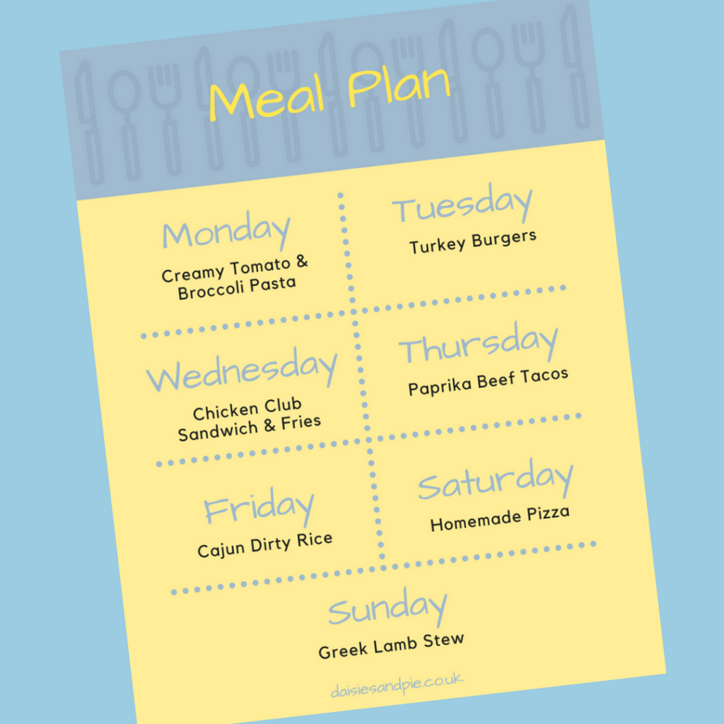 Family meal plan 5th February 2018
