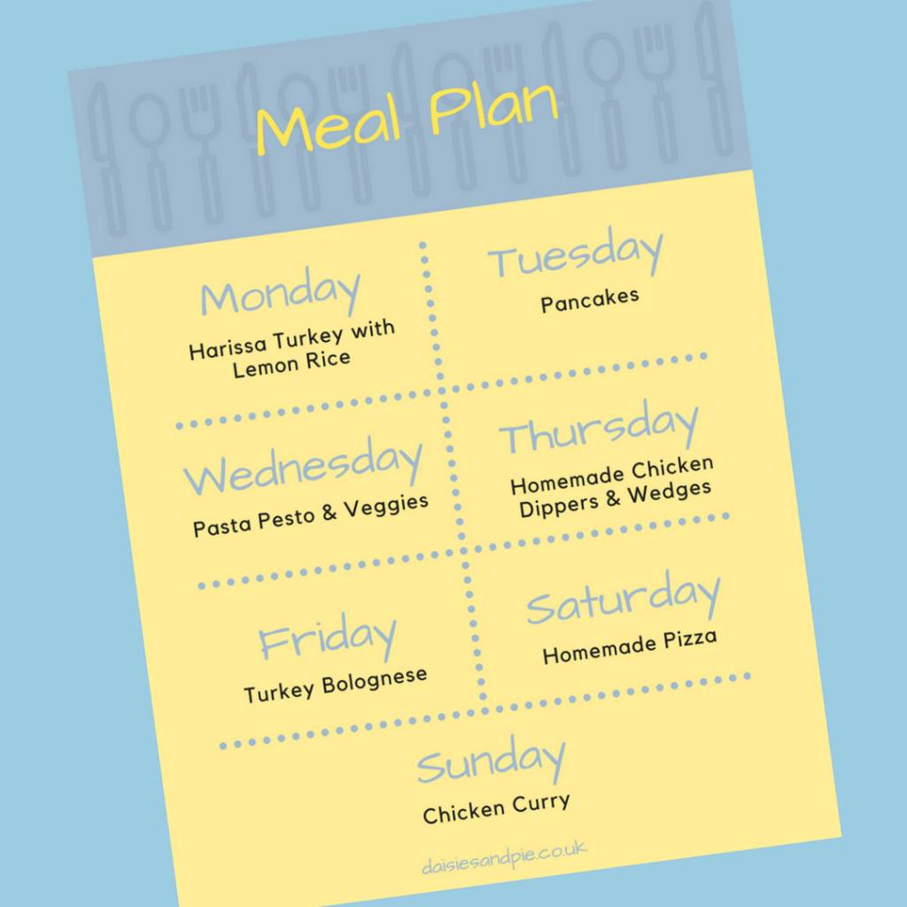 Family Meal Plan 12th February 2018